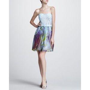 Aidan Mattox | Belted Floral Strapless Dress sz 4